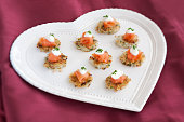 Potato Cakes with Smoked Salmon, sour cream & chiv