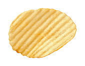 A single wavy potato chip with ridges, sometimes called ruffles, isolated on a white background. A salty snack associated with parties, and watching sporting events. It falls into category of one of A