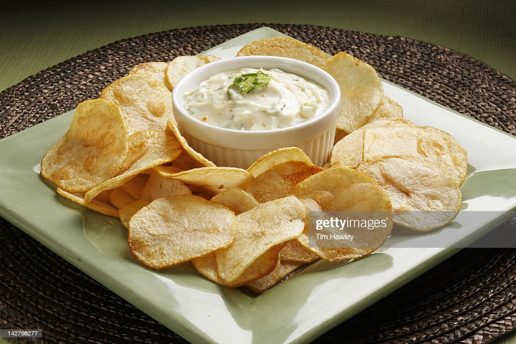 Potato chips and onion dip : Stock Photo