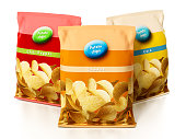 Potato chips packages isolated on white.