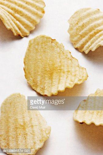 Potato chips, studio shot : Stock Photo