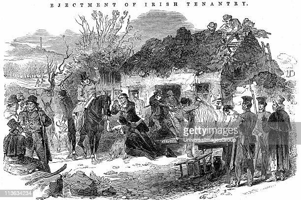 Potato Famine Irish peasant family unable to pay rent because of failure of potato crop due toPotato Blight evicted from their tumbledown cottage...