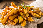 Potato Fries. Homemade potato fries with salt and rosemary.