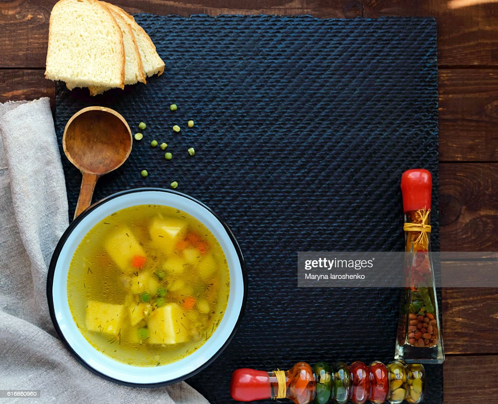 Potato - pea soup in a bowl : Stock Photo