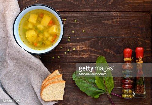 Potato - pea soup in a bowl : Stock Photo