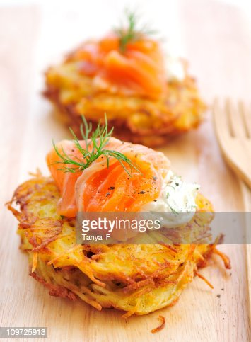 Potato Rosti Served on Wooden Cutting Board