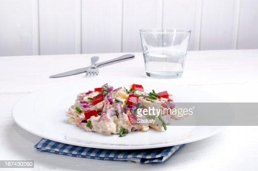 Salada de Batata com Pimento : Foto de stock
