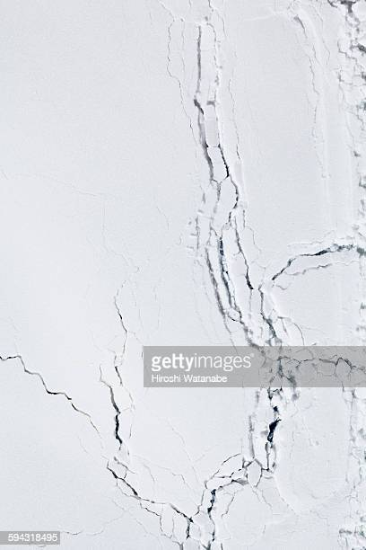 Potato starch looking like aerial view of glacier
