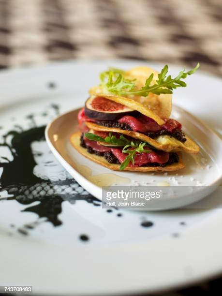 Potato,beef,fig and tapenade Mille-feuille