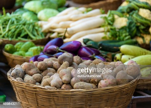 Potatoes and other vegetables for sale : Stock Photo