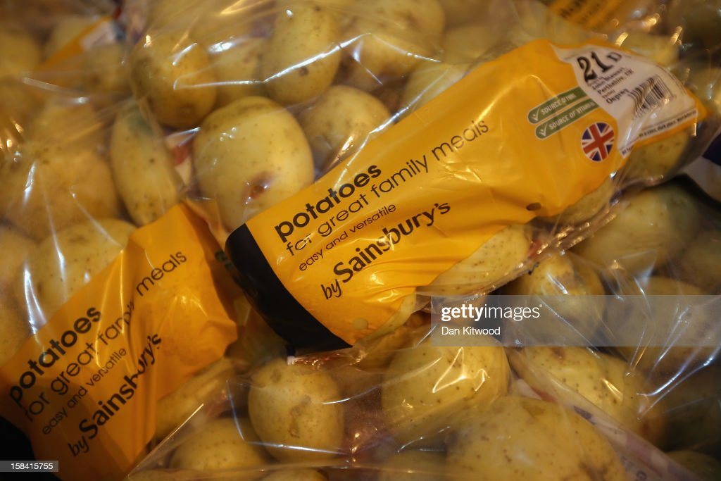 Potatoes are stored ready for distribution at the Sainsbury's Waltham Point distribution depot on December 14, 2012 in Waltham Abbey, England. The depot is the largest of 23 operated by Sainsbury's to service their stores. Twelve hundred people work in the 700,000 square foot building which makes over 1800 deliveries a week to the 83 stores in the London, Hertfordshire and Essex region.