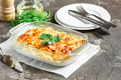 Potato gratin with cream cheese and fresh herbs