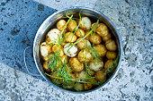 Potatoes in a pan Sweden.