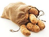 potatoes in burlap