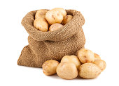 Ripe potatoes in burlap sack isolated on white background