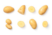 Potatoes isolated on white background. Flat lay. Top view