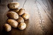 Potatoes on wood table