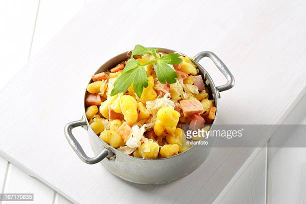 Potatoes with smoked meat and cabbage