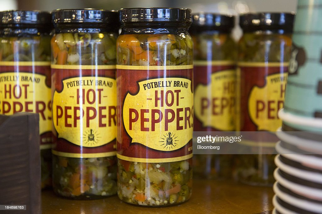 Potbelly Corp. brand hot peppers sit on display at a Potbelly Sandwich Shop in Washington, D.C., U.S., on Tuesday, Oct. 15, 2013. Potbelly Corp., the Chicago-based purveyor of made-to-order toasted sandwiches, held its initial public offering (IPO) on Oct. 4. Photographer: Andrew Harrer/Bloomberg via Getty Images