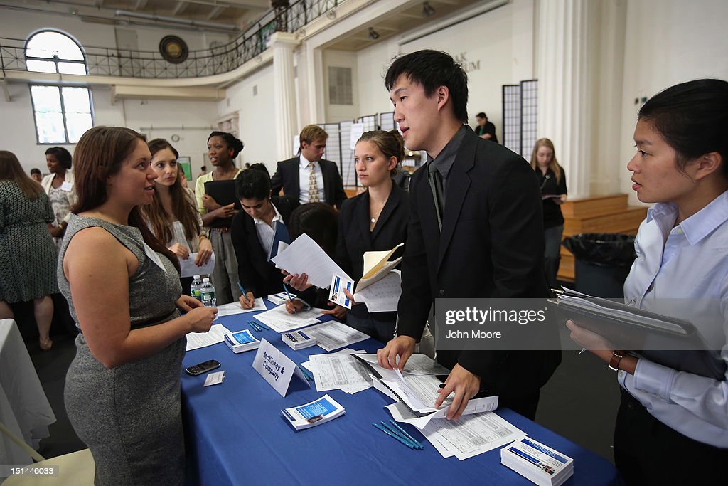 Potential employers and students meet at the Barnard College Career Fair on September 7, 2012 in New York City. Barnard, which is the undergraduate women's college of Columbia University, hosted the job and internship fair with nearly 100 companies and organizations meeting with hundreds of Barnard and Columbia students looking for work.