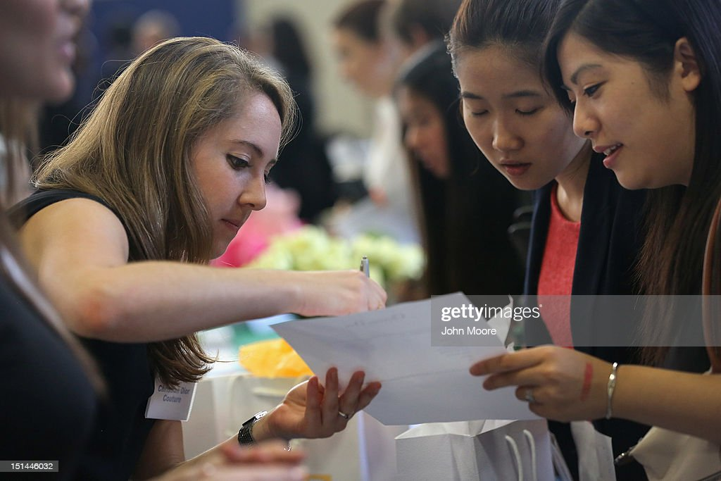 Potential employers meet with students at the Barnard College Career Fair on September 7, 2012 in New York City. Barnard, which is the undergraduate women's college of Columbia University, hosted the job and internship fair with nearly 100 companies and organizations meeting with hundreds of Barnard and Columbia students looking for work.