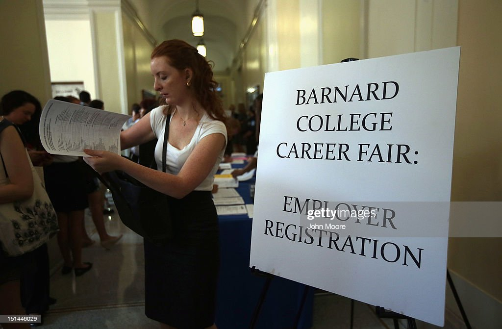 Potential employers prepare to meet students at the Barnard College Career Fair on September 7, 2012 in New York City. Barnard, which is the undergraduate women's college of Columbia University, hosted the job and internship fair with nearly 100 companies and organizations meeting with hundreds of Barnard and Columbia students looking for work.