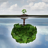 Potential success concept as a symbol for aspiration philosophy idea and determined growth motivation icon as a small young sappling making a reflection  of a mature large tree in the water with 3D il