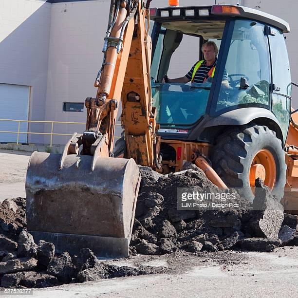 Pothole work crew repairing parking lot