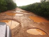 Off roading in the back country on the island of Kauai, Hawaii during rainy season.