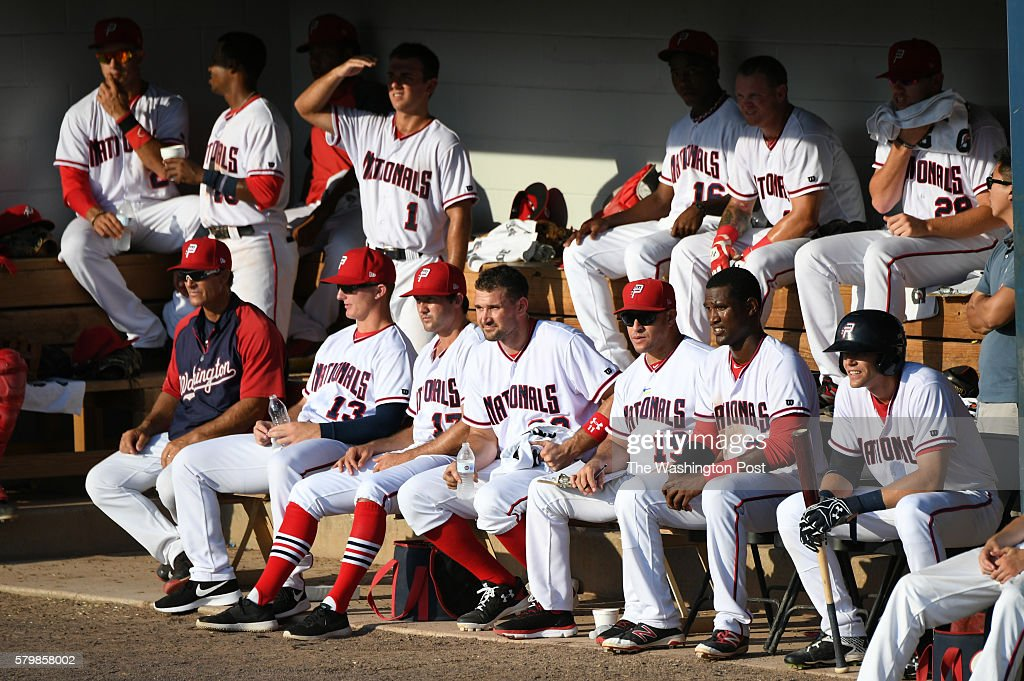 Potomac Nationals first baseman Ryan Zimmerman sits with the team during his rehab assignment on July 23 2016 in Woodbridge VA