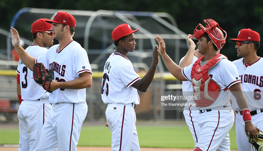 Potomac Nationals outfielder Victor Robles greets teammates on July 23 2016 in Woodbridge VA