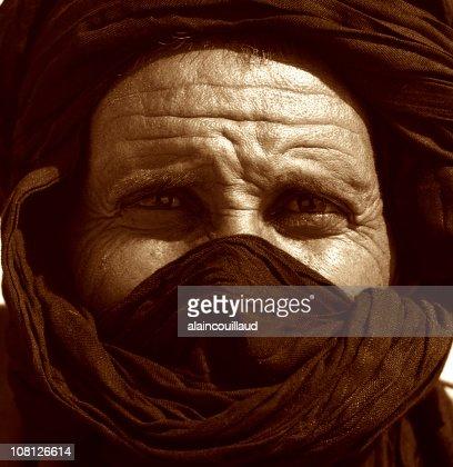 Potrait of Man's Face Wearing Tuareg, Sepia Toned