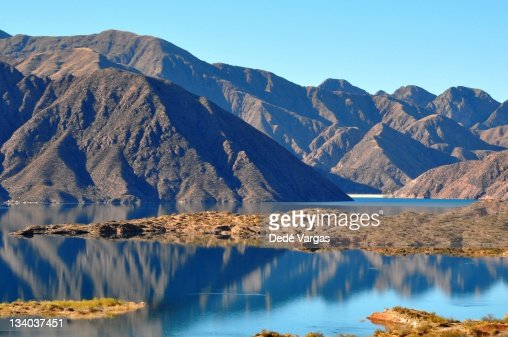 Potrerillos Lake and dam in Mendoza Argentina