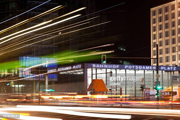 Potsdamer Platz, Berlin, motion blurs at night