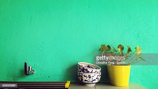 Potted Plant And Bowls On Table Against Green Wall