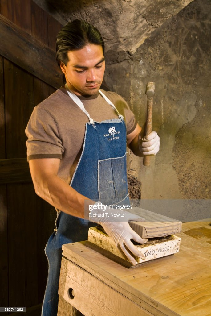 Potter working Moravian Pottery and Tile Works