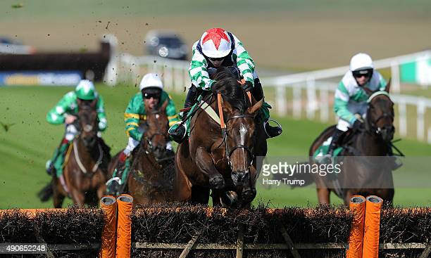 Potters Corner ridden by Tom O'Brien jumps the last to win the long croft building serves supports Paul's place maiden hurdle at Chepstow Racecourse...