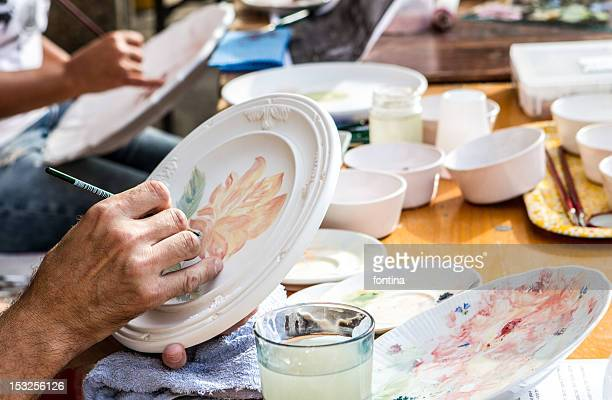 Pottery artists at work