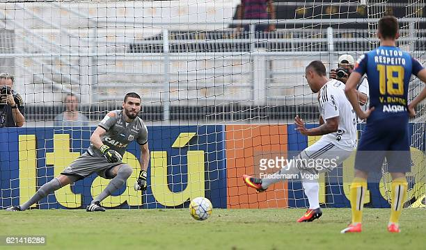 Pottker of Ponte Preta scores the first goal during the match between Ponte Preta and Santos for the Brazilian Series A 2016 at Moises Lucarelli...