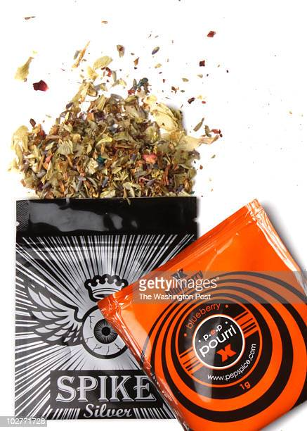 Pouches of dried herbal potpourri being called 'synthetic marijuana' photographed at The Washington Post via Getty Images in Washington DC on July 7...