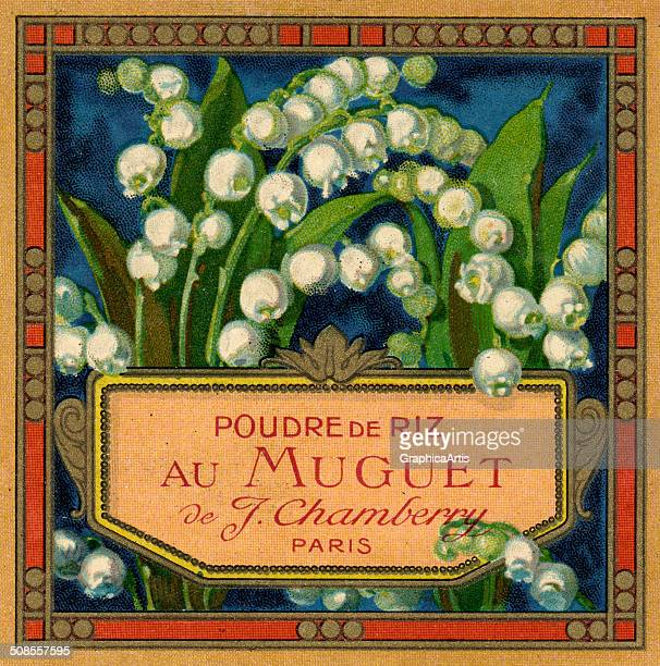 Poudre de Riz au Muguet' French perfume label with lily of the valley flowers c 1910