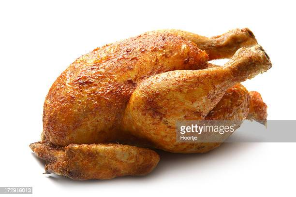Poultry: Roast Chicken Isolated on White Background