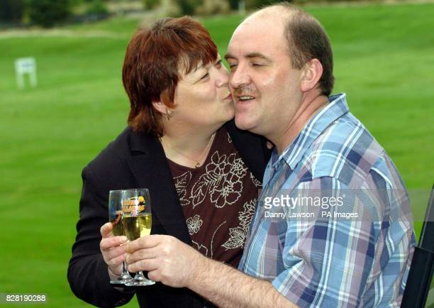 Poultry worker Andrew McAllister with his wife Doreen celebrate winning a 42 million share of the jackpot in last Friday's Euro Millions draw at...
