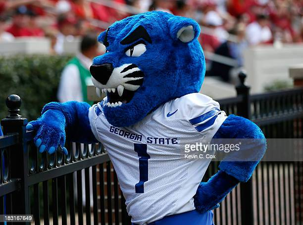 Pounce the Georgia State Panthers mascot stands on the sidelines during the game against the Alabama Crimson Tide at BryantDenny Stadium on October 5...