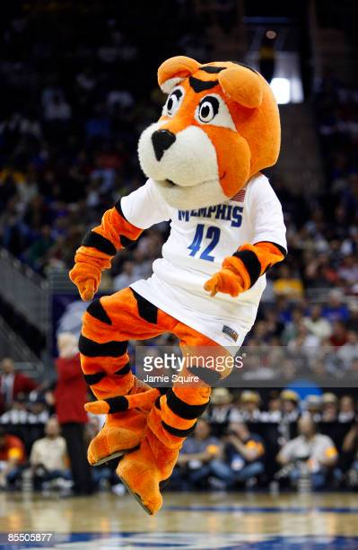 Pouncer the Memphis Tigers mascot entertains fans during a break in action between the CSUN Matadors and the Memphis Tigers during the first round of...