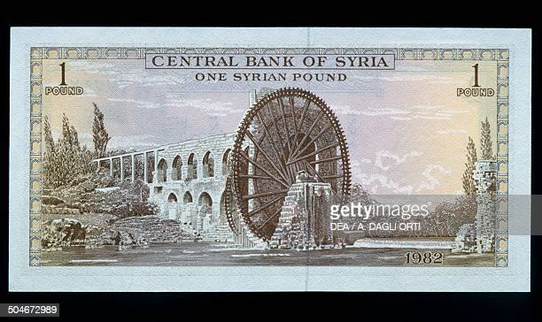 1 pound banknote reverse Norias of Hama along the Orontes River Syria 20th century