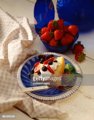 Pound cake with cream and berries