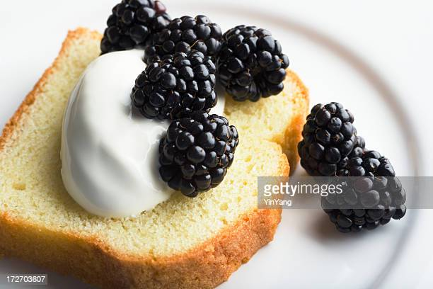 Pound Cake with Mascarpone Cheese, Blackberry, Whipped Cream on Plate
