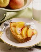 Pound cake with peaches