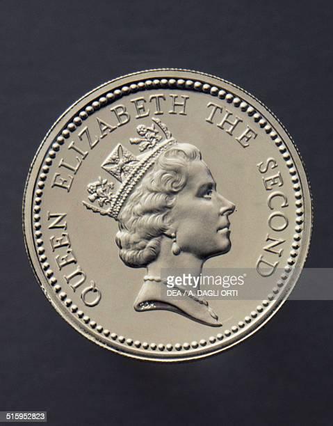 1 pound coin obverse queen Elizabeth II Falkland Islands 20th century